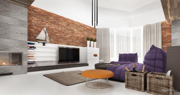 aménagement espace salon contemporain canapé gris violet tapis de sol pouf orange design moderne rustem-urazmetov