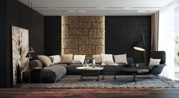 idée salon moderne canapé noir déco tableau blanc table blanche basse