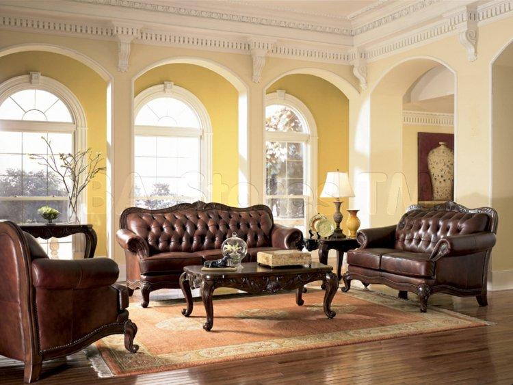 salon deco style victrien meubles cuir