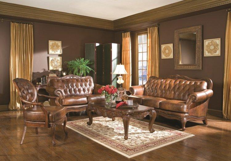 salon deco victorienne mobilier cuir