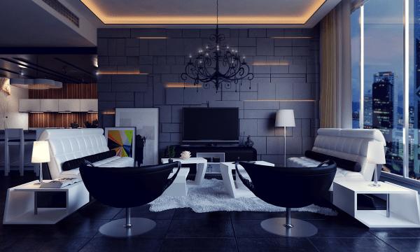 aménagement espace contemporain design fauteuil noir tapis de sol blanc luminaire suspendu