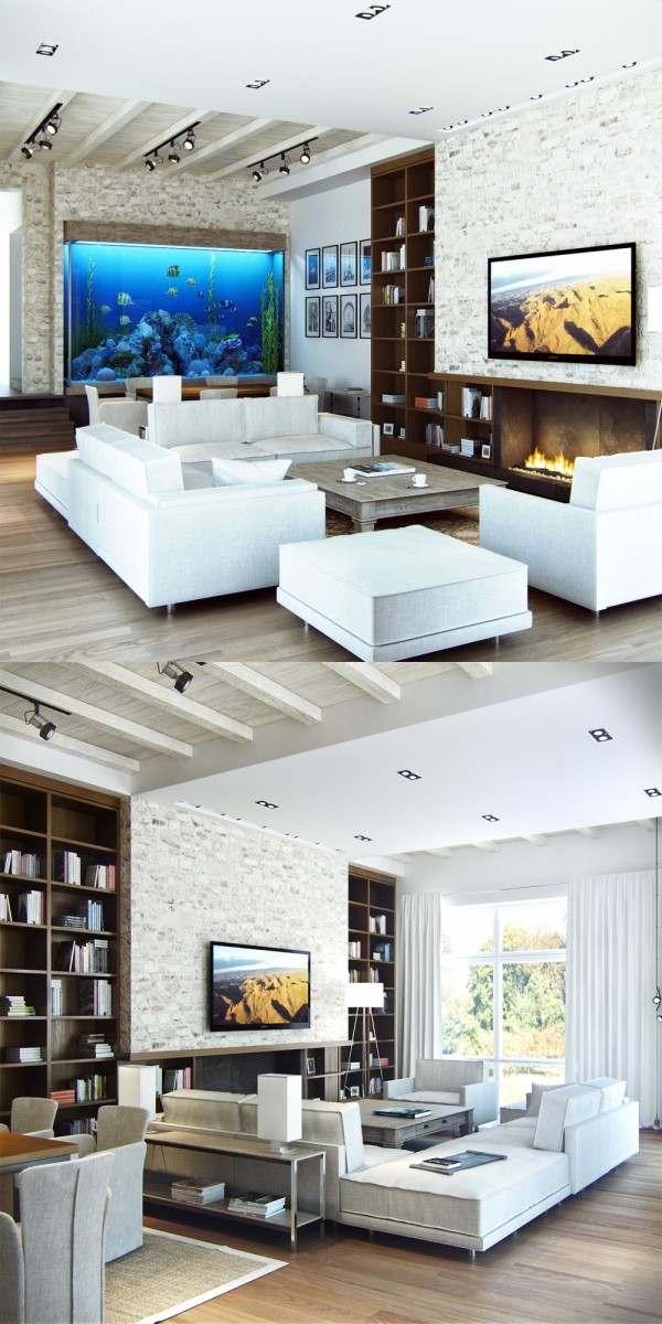 séjour moderne design canapé blanc table de salon grise déco aquariuim