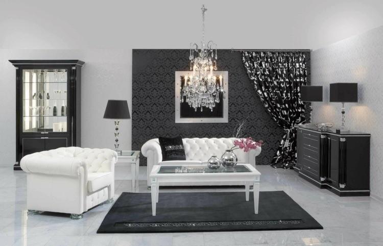 salon noir et blanc design
