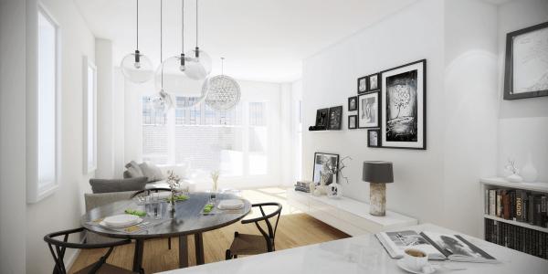 aménagement salon moderne séjour design luminaire suspendu composition cadres noir blanc design