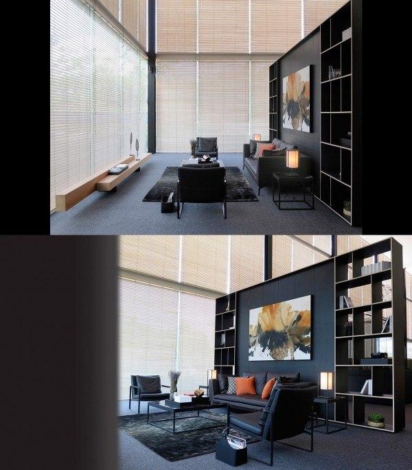 aménagement séjour canapé noir tapis de sol bibliothèque noir