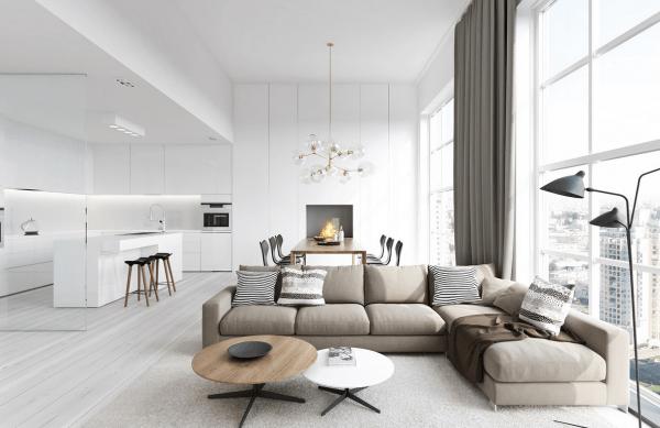 aménagement salon canapé beige tapis de sol table en bois luminaire suspendu cuisine ouverte salon atviz