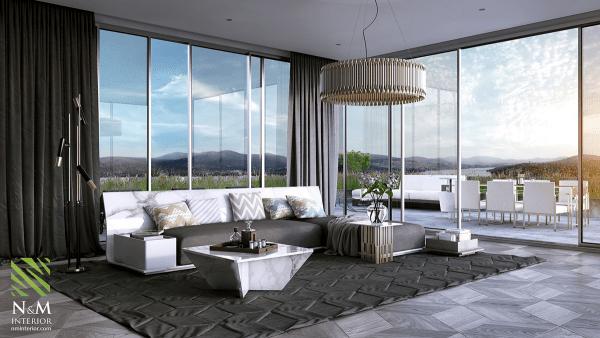 aménagement salon moderne idée canapé lampe tapis de sol gris foncé