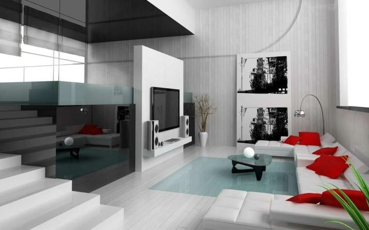 salon moderne gris idée design aménagement canapé d'angle blanc table basse design
