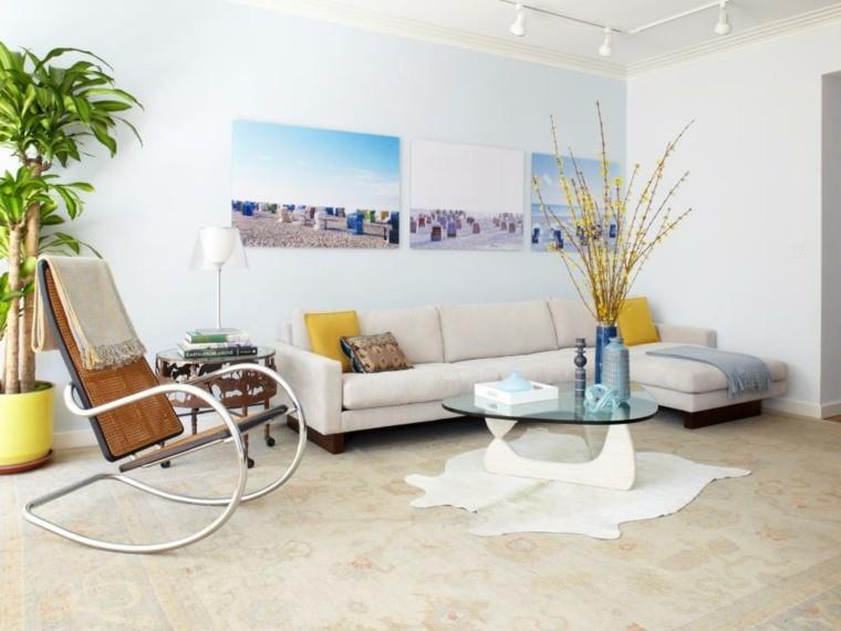 carrelage salon blanc déco plante moderne table basse en verre