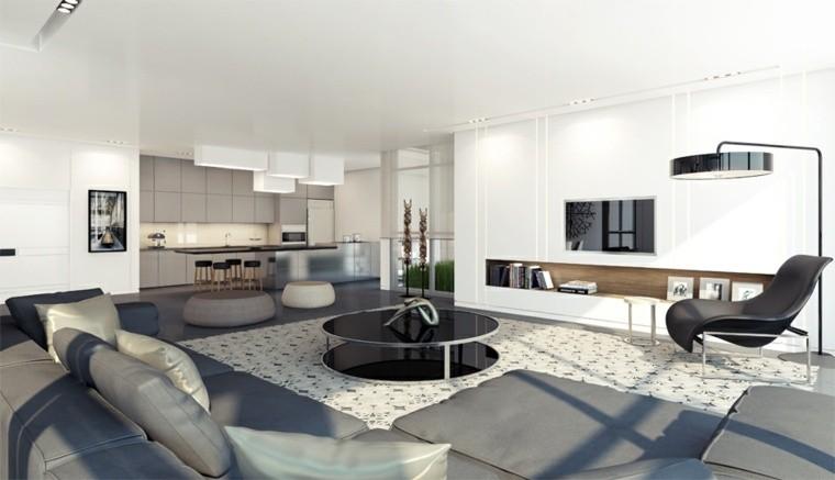 aménager salon moderne design table basse noire tapis de sol blanc fauteuil noir canapé gris déco