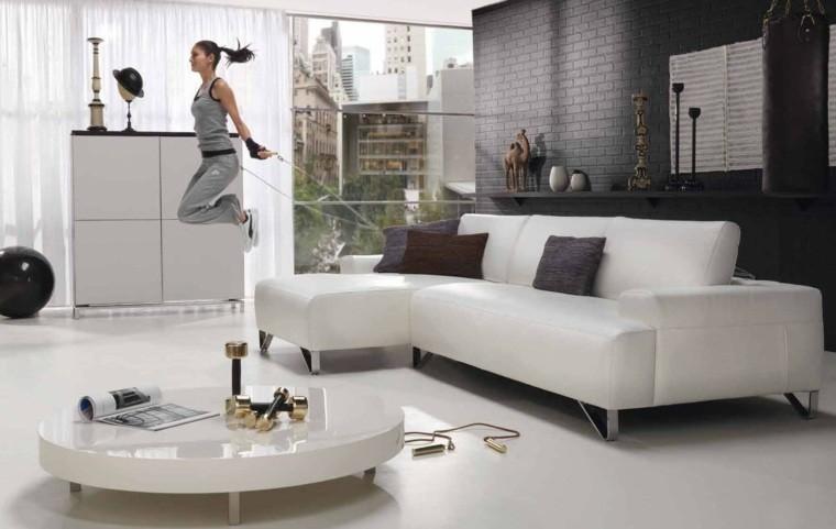 aménagement salon idée design canapé blanc gris intérieur table basse salon