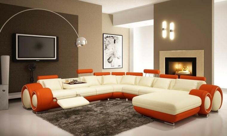 aménagement appartement moderne canapé blanc tapis de sol moderne déco tableau orange blanc idée télé