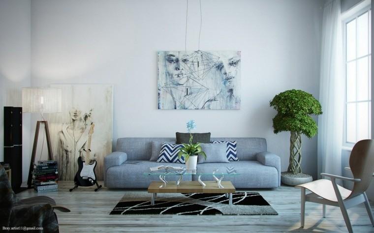 intérieur gris salon moderne idée déco mur plante coussins tapis de sol noir blanc