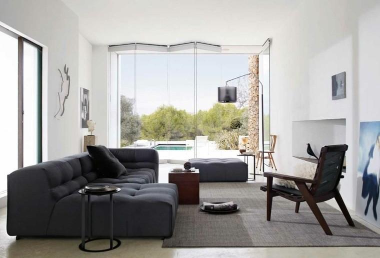 salon idée aménagement canapé gris foncé fauteuil tapis de sol gris