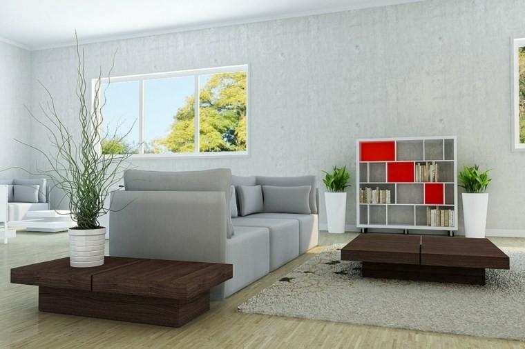 salon moderne gris idée canapé design table basse bois marron moderne plante étagères