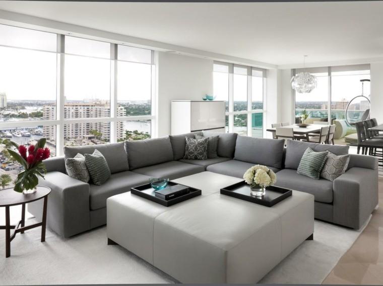 salon moderne design canapé d'angle gris pouf table