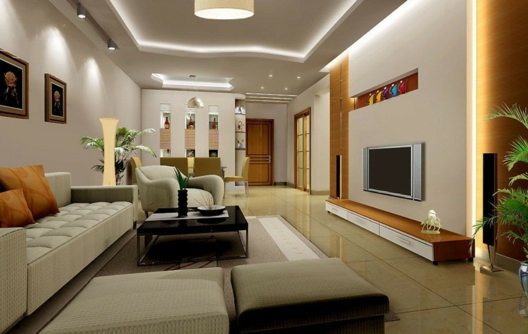 carrelage salon beige design canapé blanc cuir