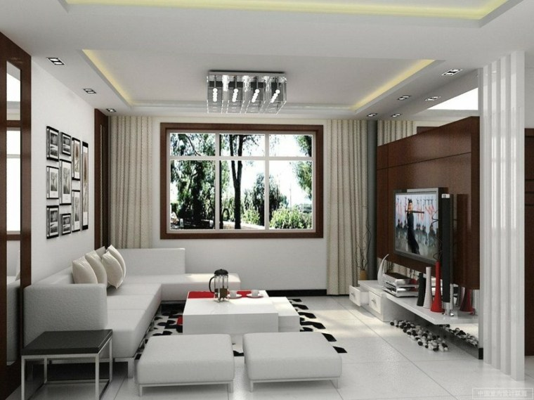salon carrelage idée aménagement canapé d'angle blanc