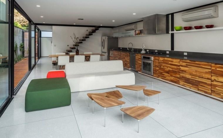 salon canapé design table bois basse cuisine
