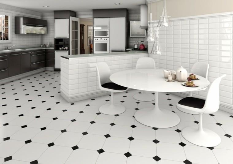 aménagement salon carrelage noir blanc table blanche design