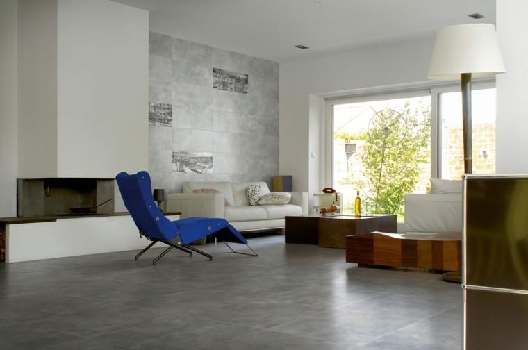 Carrelage salon idée imitation béton chaise longue