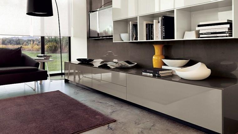 salon aménagement idée marbre tapis de sol violet meuble