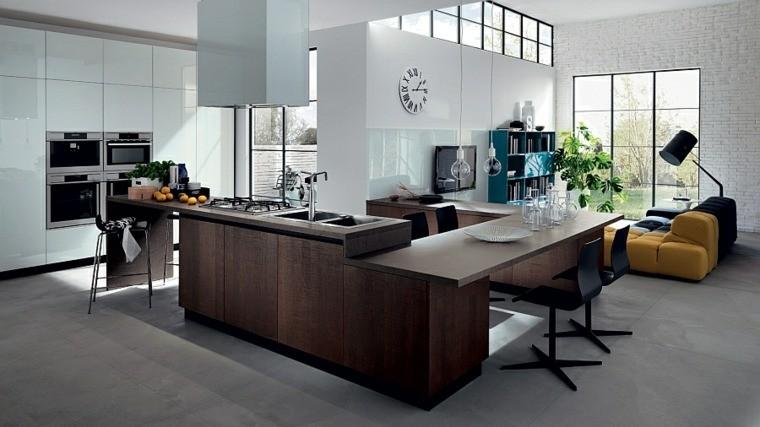 salon moderne carrelage idée ilot central cuisine