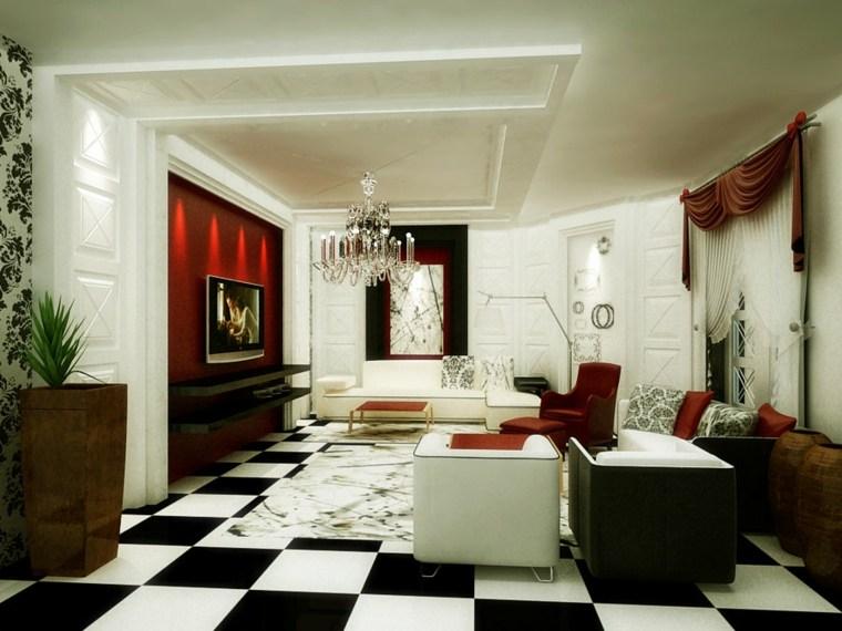 salon aménagement idée design carrelage noir et blanc moderne canapé
