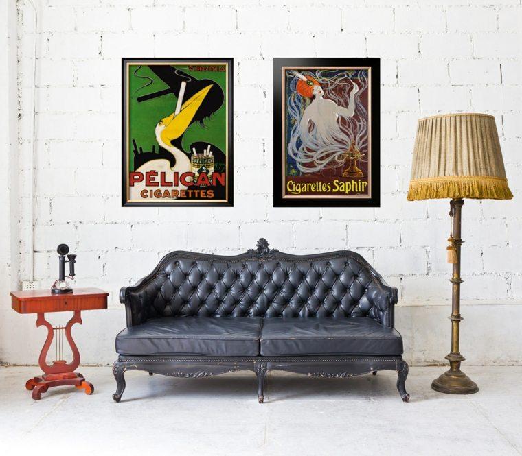 déco mur salon mur brique poster vintage