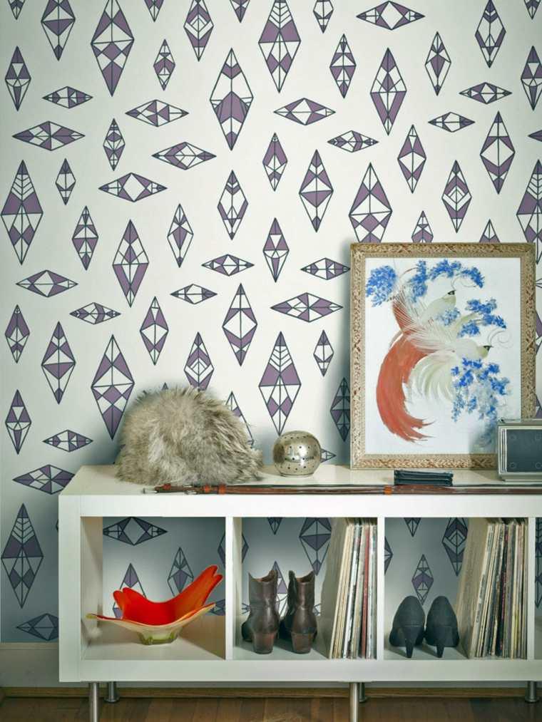 decoration intérieur mur salon papiers peints rétro