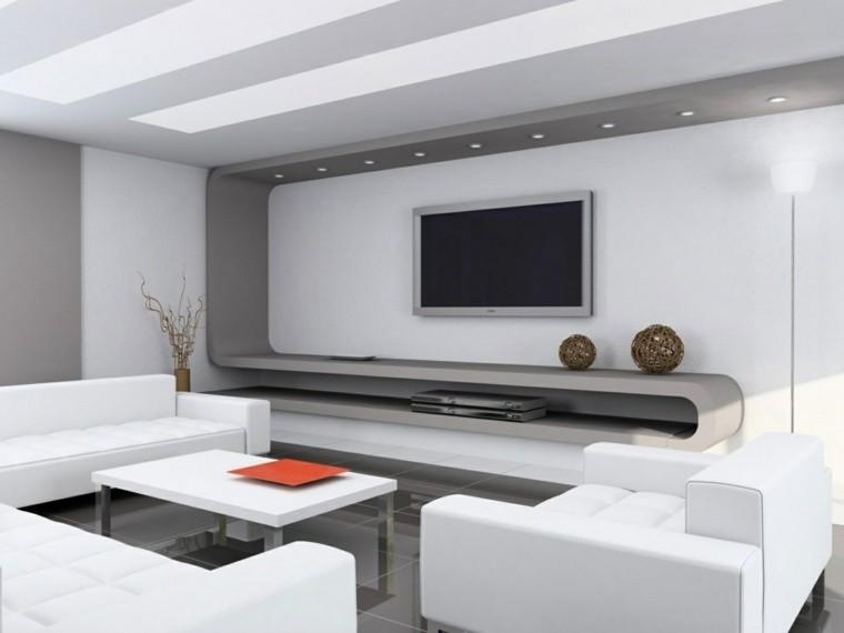 aménagement salon idée canapé blanc moderne orange déco style minimaliste
