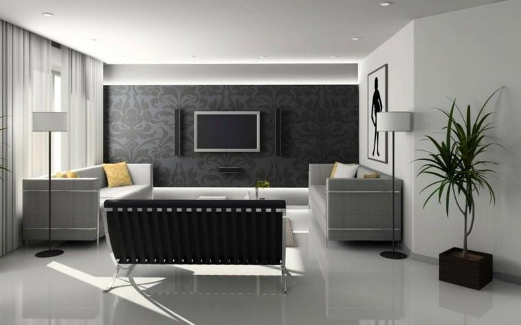 décorer salon intérieur noir gris mur papier peint idée canapé