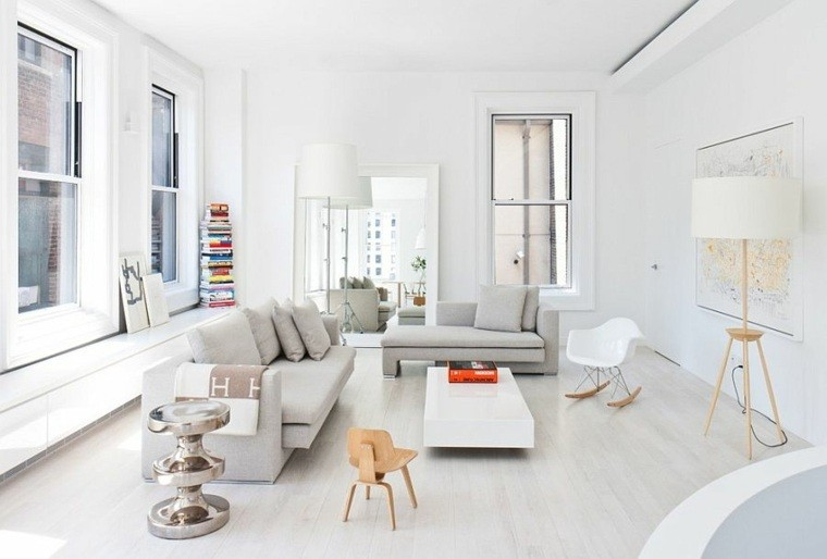 idées decoration scandinave salons mobilier blanc