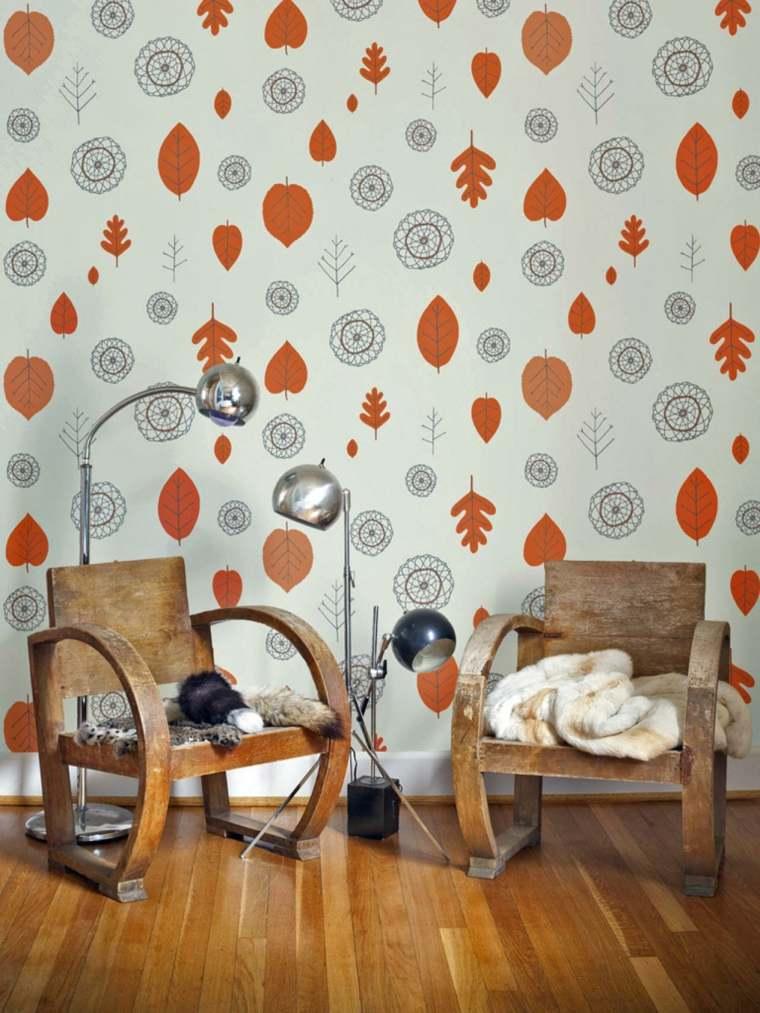 deco murs salon papiers peints design rétro