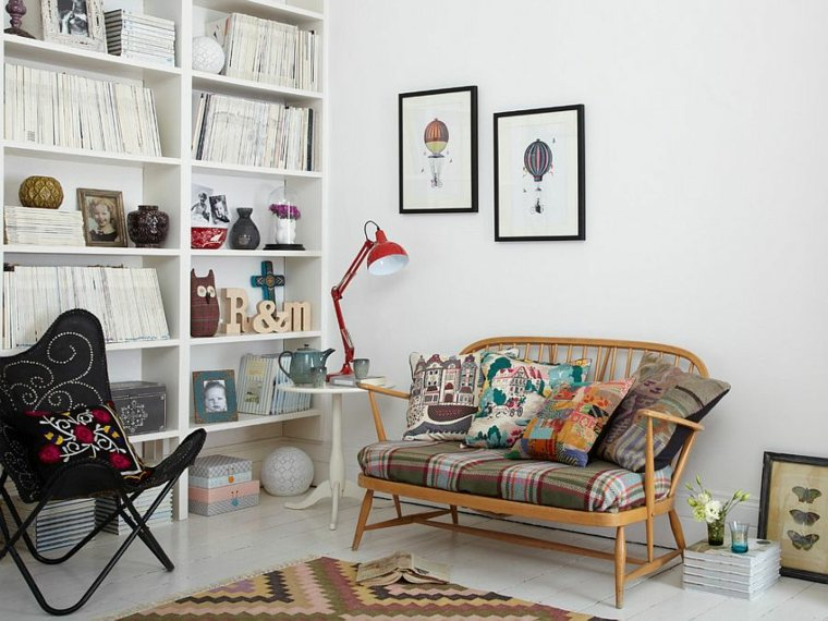 idees decoration salon design scandinave bibliotheques blanches