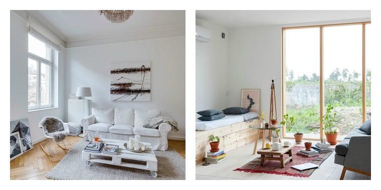 idée aménagement salon déco style scandinave blanc bois