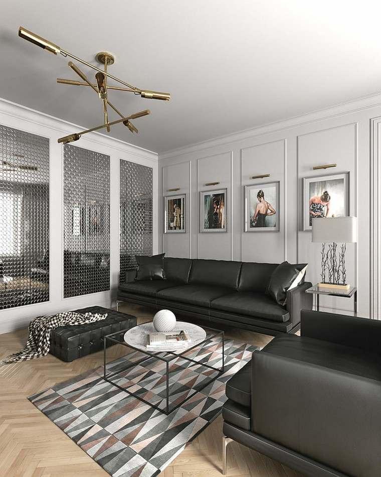déco salon mobilier scandinave canapes tapis geometriques