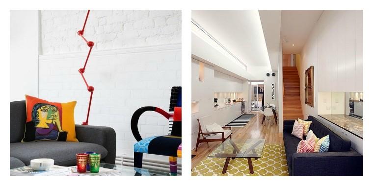 salon moderne canapé scandinave noir aménagement intérieur