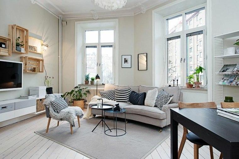 idée deco noir blanc salons design scandinave meubles bois