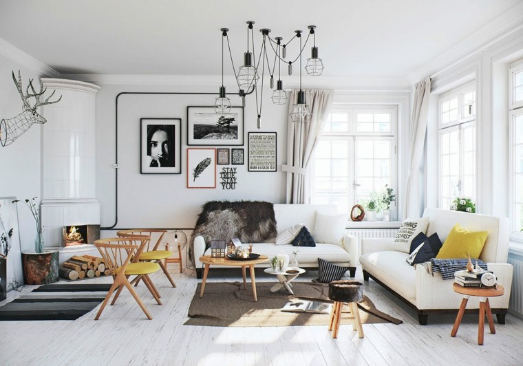 idée decoration salons scandinaves meuble bois blanc