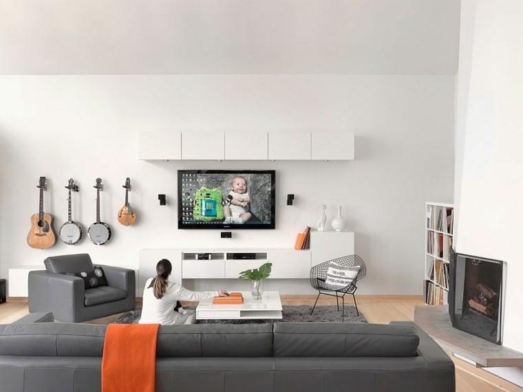 idée decoration salons scandinaves meubles gris fonce