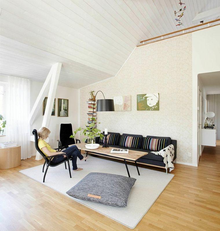idée intérieur décoration candinave salon meubles noirs