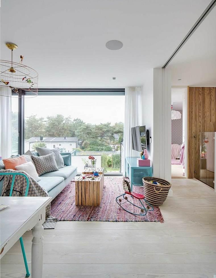 idée déco salons intérieur scandinave mobilier pastel