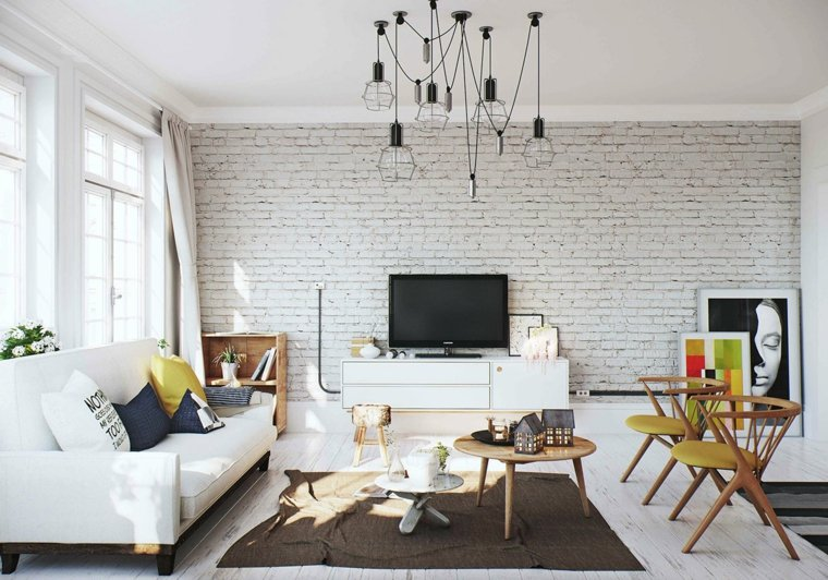 aménagement salons style scandinave murs briques