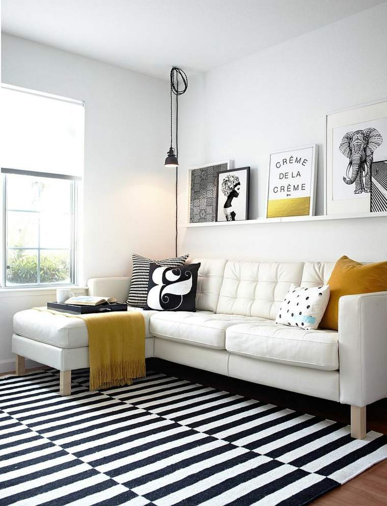 salons style scandinave déco noir blanc aménagement