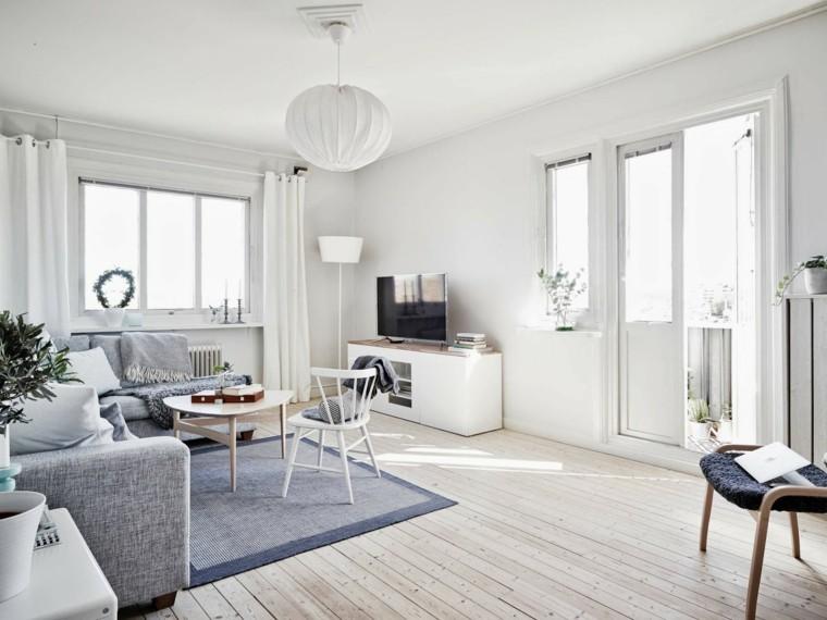 idée déco salon style scandinave sol bois canapés gris