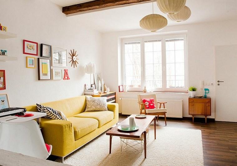 idées déco salon mobilier style scandinave sol bois canapé jaune