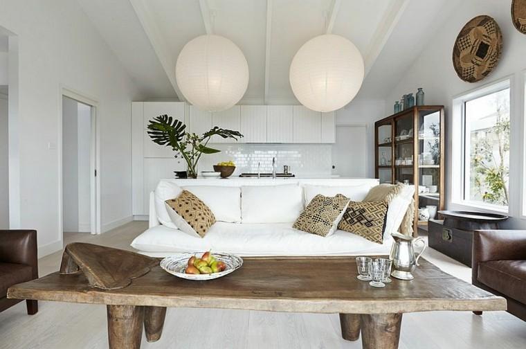 idées déco salons scandinaves tables bois massif