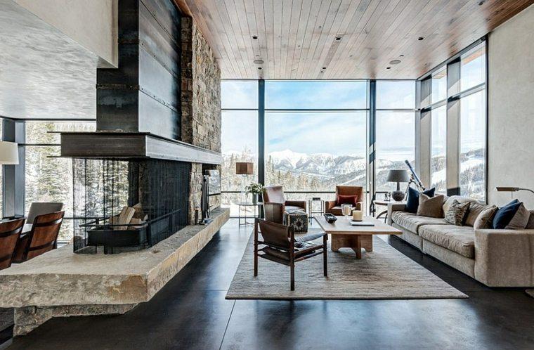 salon carrelage design idée moderne canapé table basse en bois