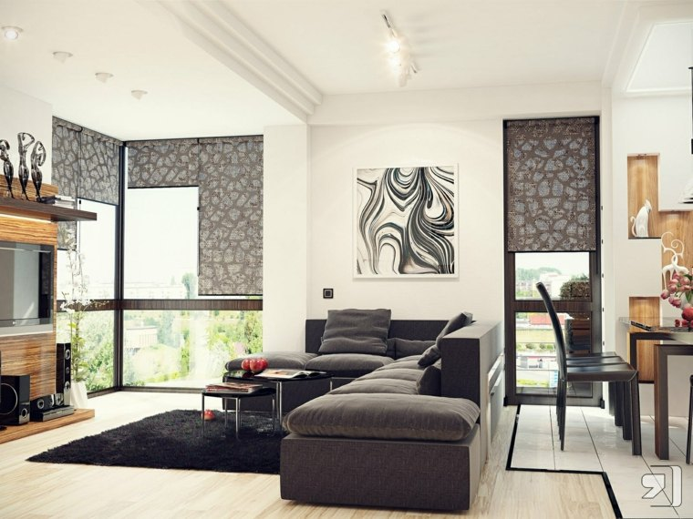 salon moderne gris noir canapé design déco mur cadre noir blanc